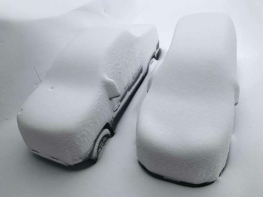 Click through this gallery to see some of the craziest snow photos of Tahoe's epic 2017 season. Two cars covered in snow at Tahoe-Donner after storm hits northern Sierra Nevada on March 5, 2017.