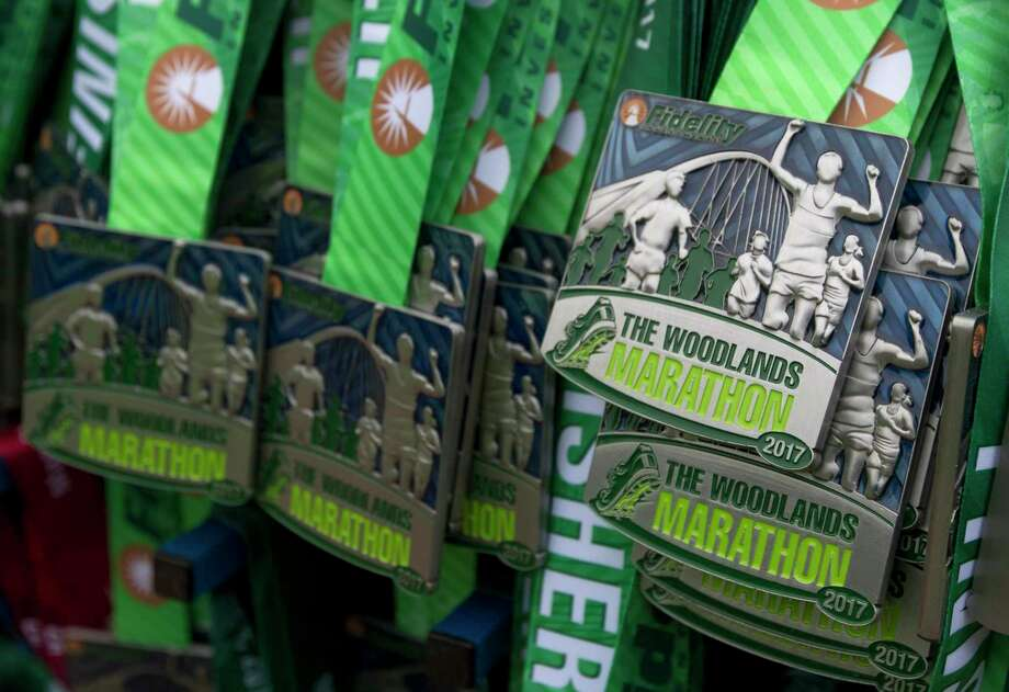 Medals for finishers of The Woodlands Marathon are seen Saturday, March 4, 2017, in The Woodlands. Photo: Jason Fochtman, Staff Photographer / © 2017 Houston Chronicle
