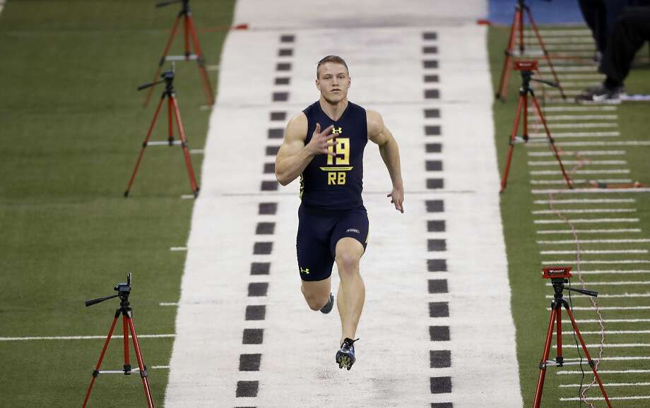 Christian McCaffrey tied for fourth with a 4.22-second 40-yard dash at the NFL combine  in Indianapolis. Photo: David J. Phillip, Associated Press