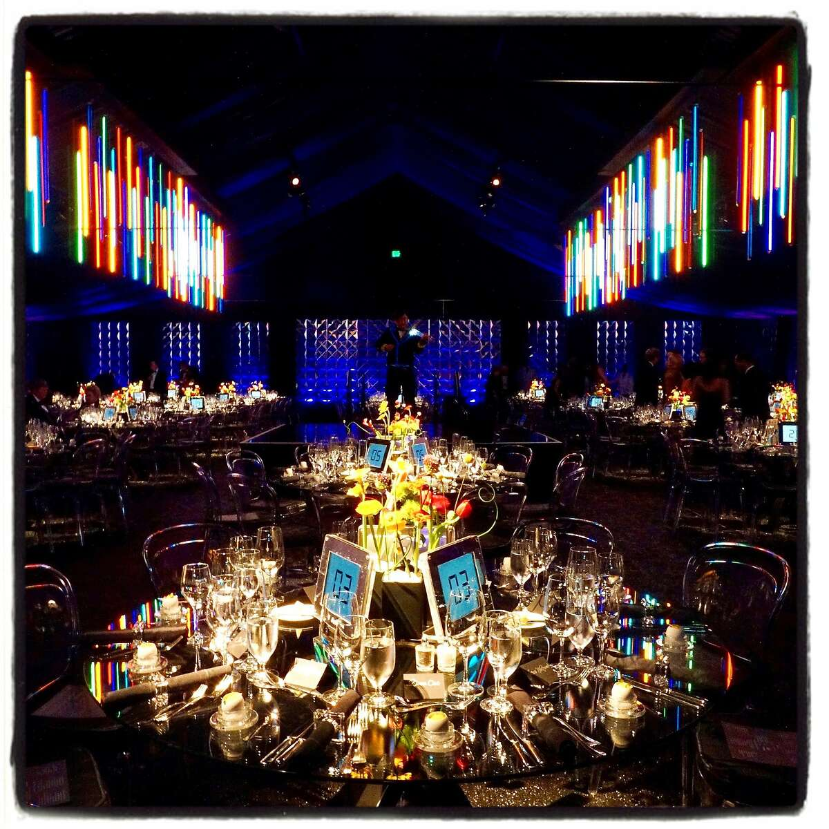 McCalls Catering and Got-Light created a dinner tent of digital delights at the Asian Art Museum gala. March 2, 2017.