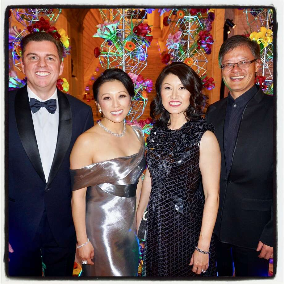 Tony and Cori Bates (left) with Akiko Yamazaki and her husband, Jerry Yang, at the Asian Art Museum Gala. Photo: Catherine Bigelow, Special To The Chronicle