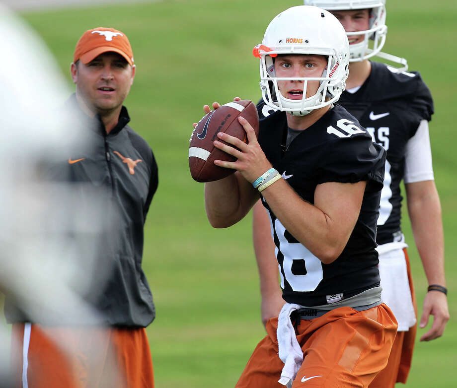 Sophomore Shane Buechele (16) is the incumbent at QB but could be tested by freshman Sam Ehlinger. Photo: Stephen Spillman