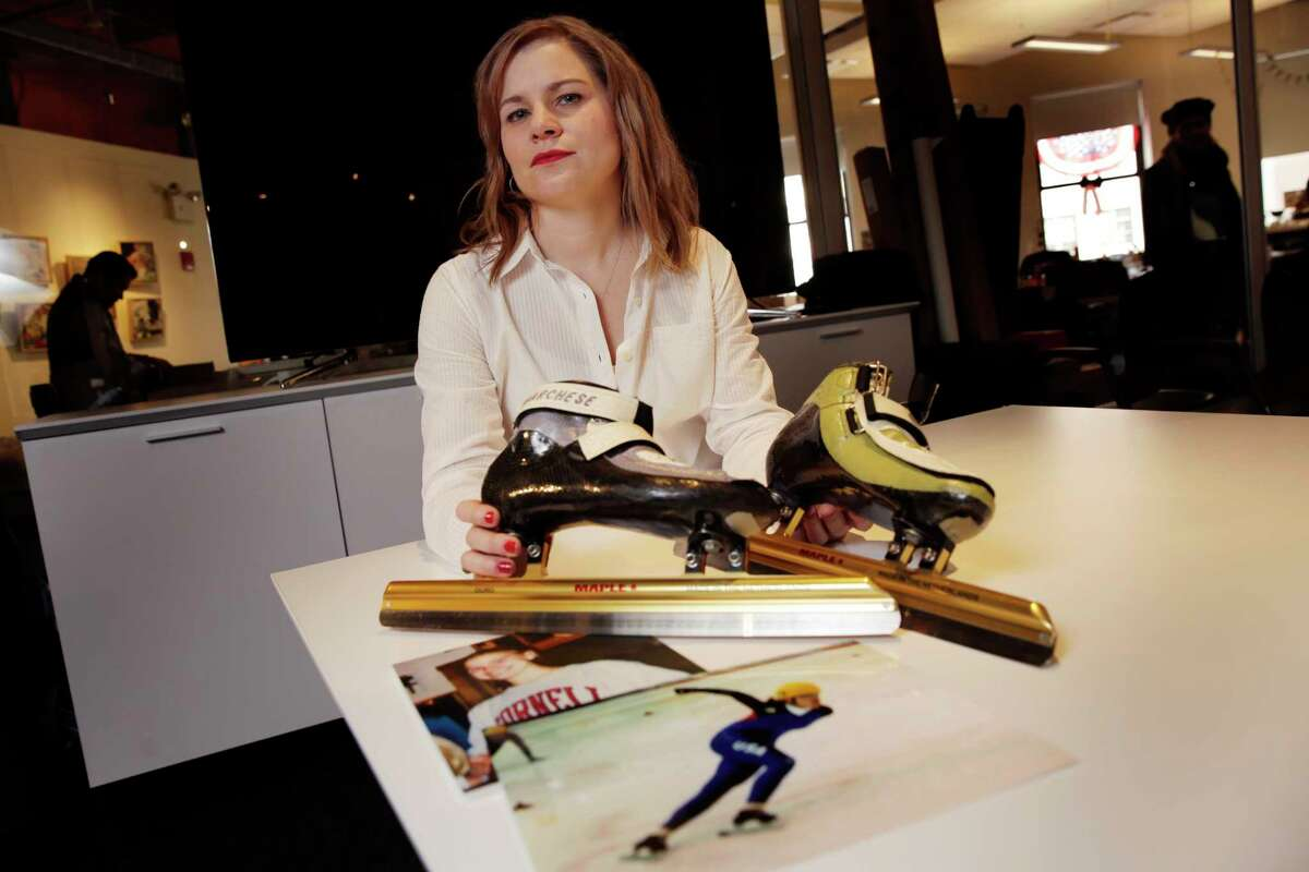 In this March 3, 2017, photo, former competitive speedskater Bridie Farrell poses in New York with a pair of her skates and photos of herself as a young skater. Farrell, who says that as a 15-year-old she was sexually abused repeatedly by a 33-year-old teammate, is hoping, like other survivors of child molestation, that this may be the year New York passes a law lifting one of the nation's tightest statutes of limitations on filing criminal charges and lawsuits against their abusers. (AP Photo/Richard Drew) ORG XMIT: NYRD102