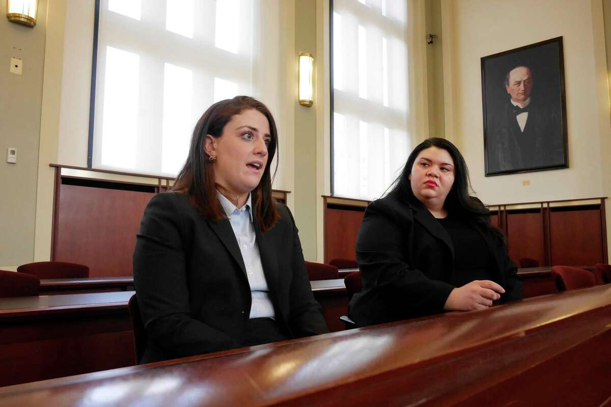 Third year Albany Law School students Liz Bearese, left, from Averill Park, and Brenda Baddam, from Miramar, FL, talk about a symposium coming up on March 9th at Albany Law on the legal issues surrounding the opioid epidemic, during an interview on Thursday, March 2, 2017, in Albany, N.Y. (Paul Buckowski / Times Union)
