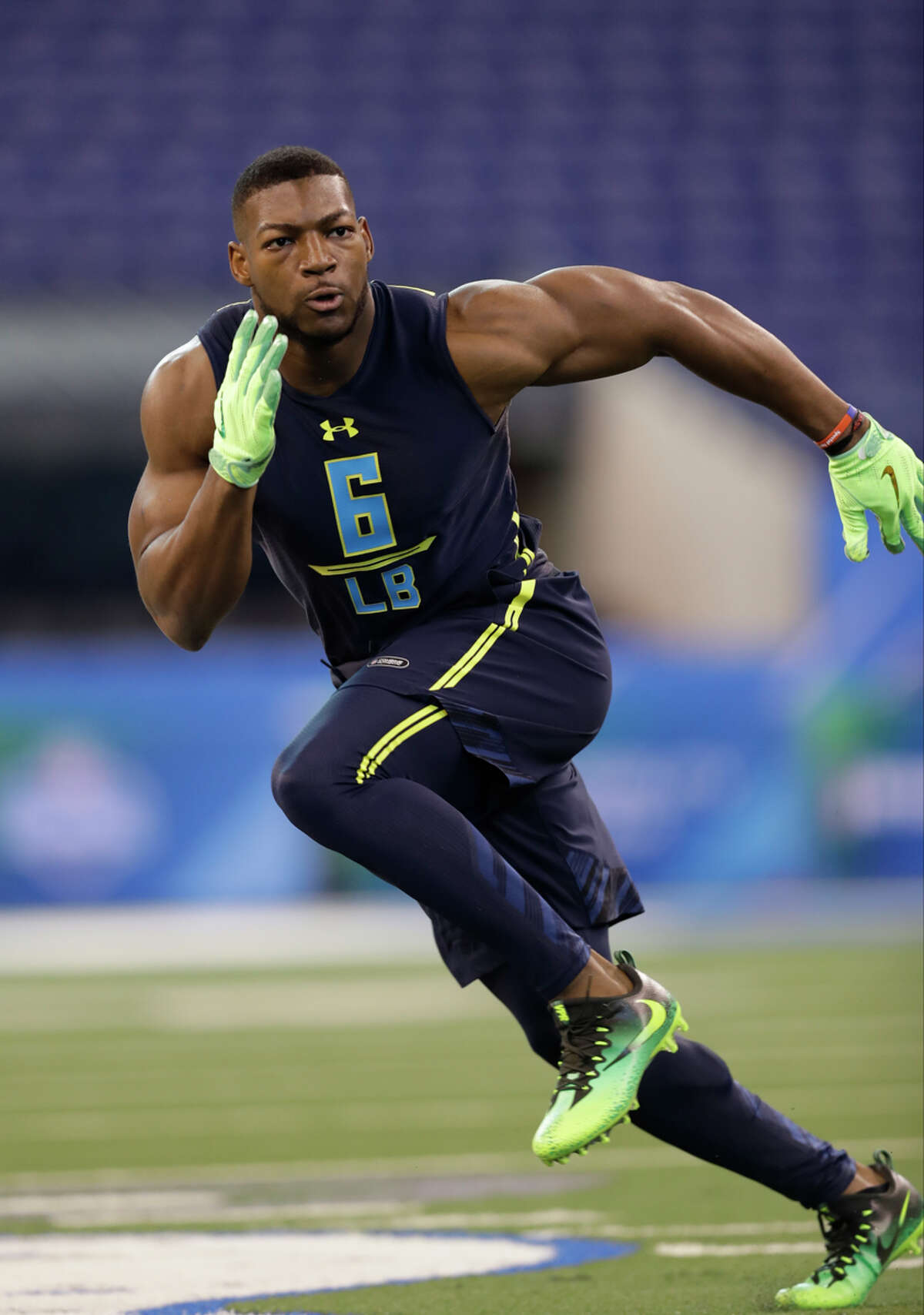 UH linebacker Tyus Bowser ran the 40-yard dash in 4.65 seconds at the NFL scouting combine.