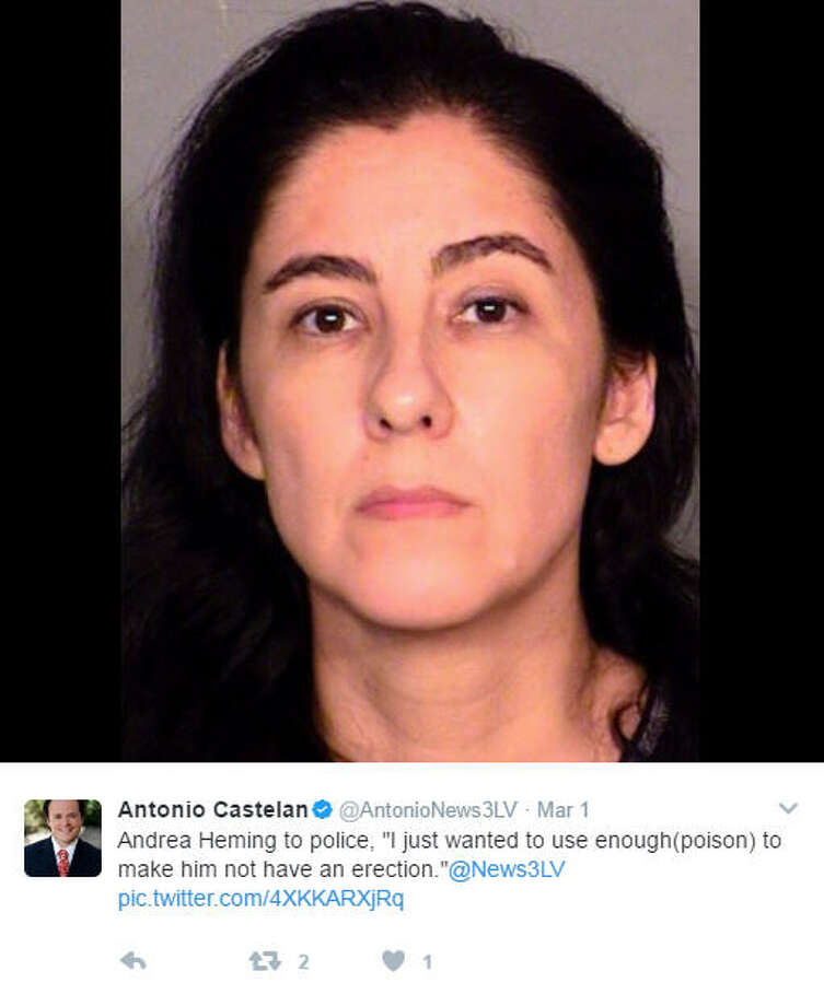 """Andrea Heming to police, 'I just wanted to use enough(poison) to make him not have an erection.'""Source: Twitter Photo: Twitter"
