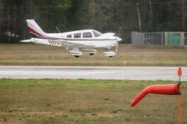 An airplane that departed from Abilene comes in for a landing at Conroe-North Houston Regional Airport on Sunday, March 5, 2017.