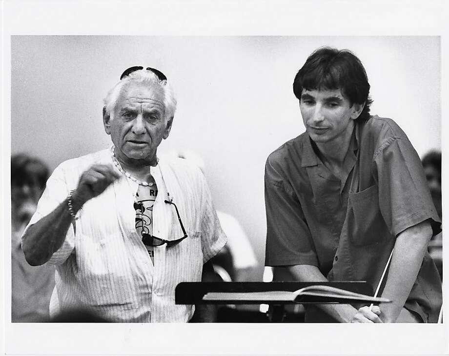 Leonard Bernstein (left) mentored S.F. Symphony Music Director Michael Tilson Thomas. Photo: Jerry Takiser