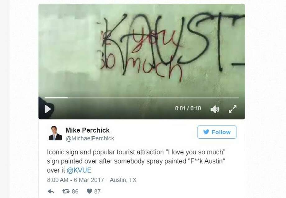 """Austin's iconic """"I love you so much"""" mural was defaced late Sunday night.>Click to see Houston's street art."""
