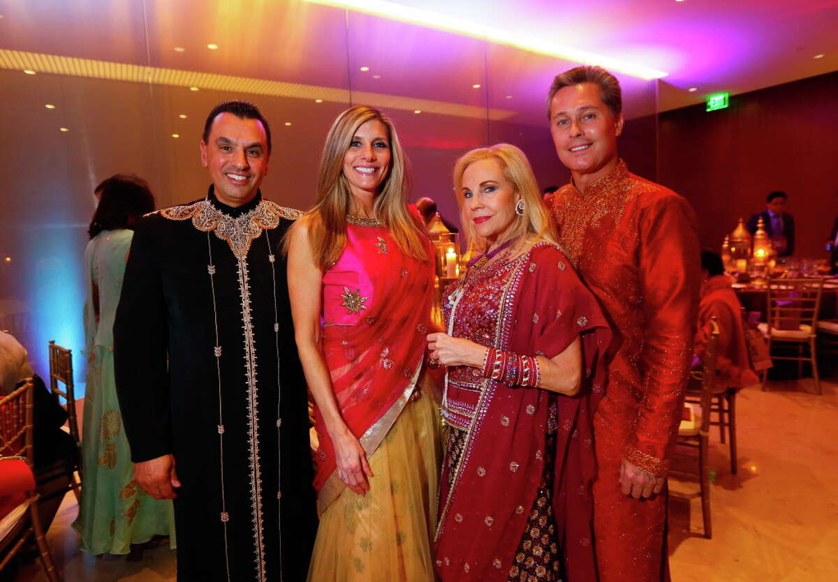 Devinder Bhatia, Gina Bhatia, Dr. Carolyn Farb and guest at the Asia Society's Tiger Ball on Friday, March 3, 2017, in Houston. (Annie Mulligan / Freelance)