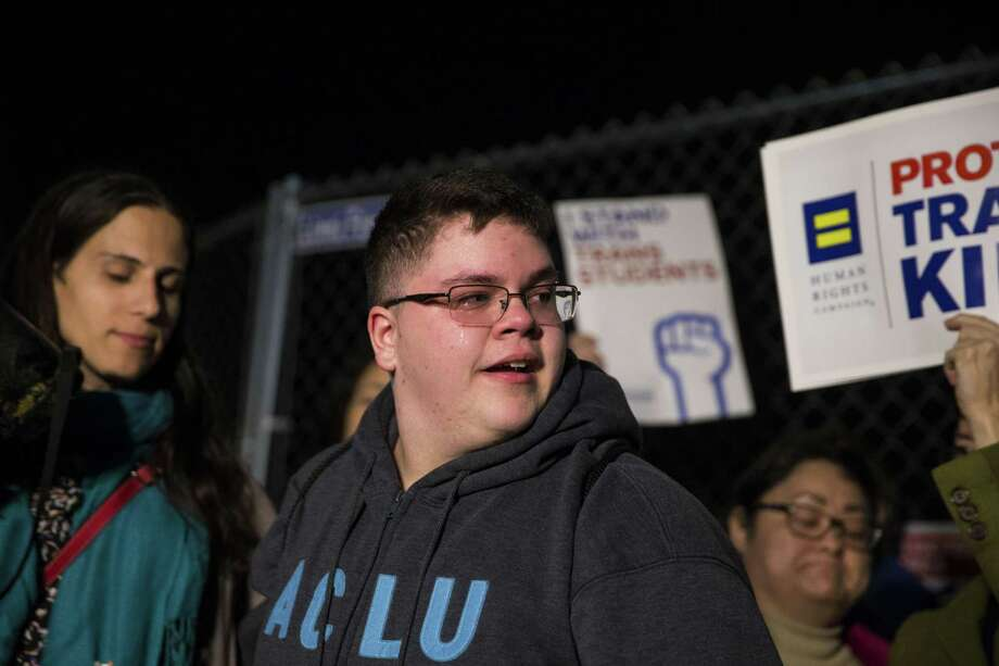 Gavin Grimm, a transgender boy whose suit against the Gloucester County School Board was scheduled to go before the Supreme Court, is cheered on during a protest outside the White House in Washington, Feb. 22, 2017. The Supreme Court announced March 6 that it would not hear Grimms case on transgender rights after all, acting after the Trump administration changed the federal governments position on whether public schools had to allow transgender youths to use bathrooms that matched their gender identities. Photo: AL DRAGO /New York Times / NYTNS