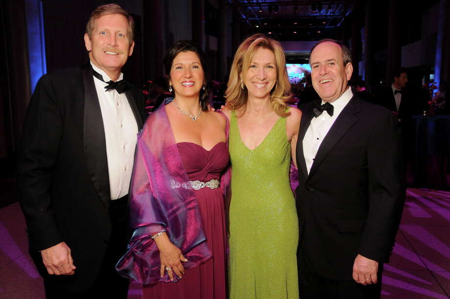 From left: Brady and Sandra McConaty with Ayse and Grant McCracken at the Big Bang Ball at the Houston Museum of Natural Science Saturday March  04,2017. (Dave Rossman Photo) Photo: Dave Rossman, For The Chronicle / Dave Rossman