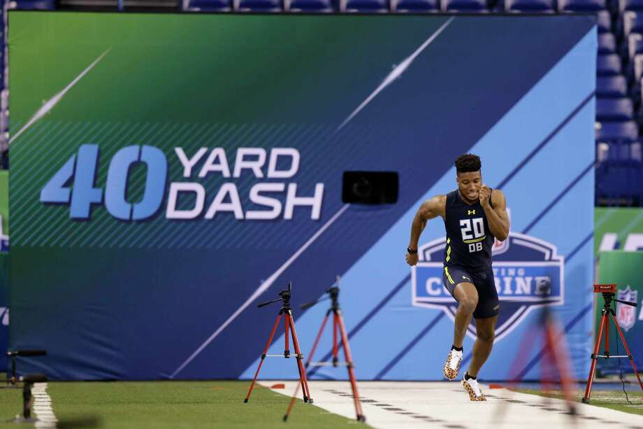 Alabama defensive back Marlon Humphrey runs the 40-yard dash at the NFL football scouting combine in Indianapolis, Monday, March 6, 2017. (AP Photo/Michael Conroy) Photo: Associated Press / Copyright 2017 The Associated Press. All rights reserved.