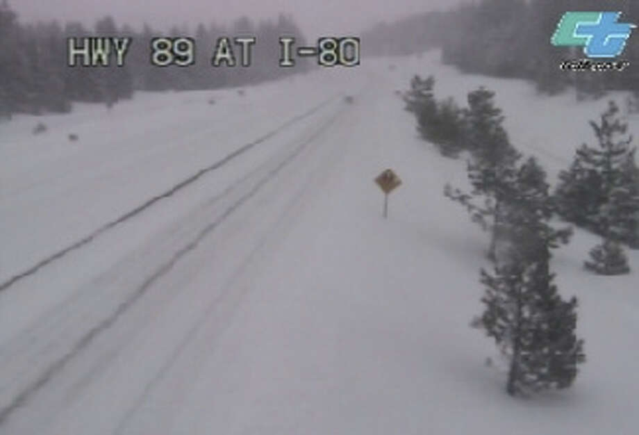 According to the CHP, Interstate 80 is closed from the Nevada State Line to Colfax in both directions due to poor visibility and traction issues. Photo: Caltrans