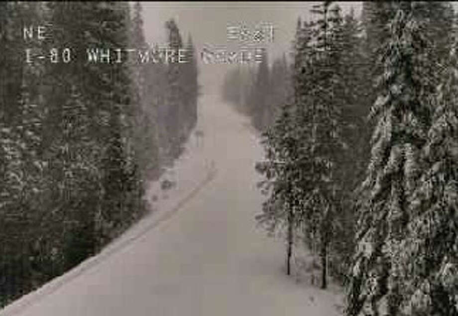 According to the CHP, Interstate 80 is closed from the Nevada State Line to Colfax in both directions due to poor visibility and traction issues on March 6, 2017. Photo: Caltrans