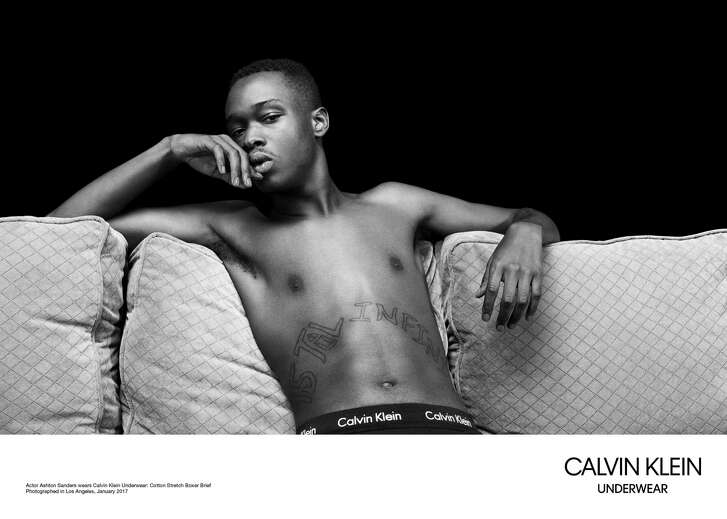 """The cast of the Oscar-winning """"Moonlight"""" stars in Calvin Klein's spring underwear campaign. Mahershala Ali, right, who won best supporting actor, appearsin several ads, as do """"Moonlight"""" co-stars Trevante Rhodes, top left; Ashton Sanders, above right; and 12-year-old Alex R. Hibbert, above left."""
