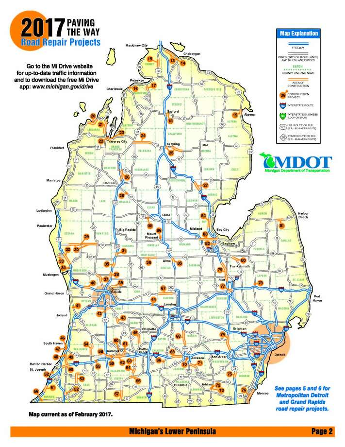 Use this construction map to plan michigan summer road trips mdots 2017 construction projects mapwnload the full michigan map at michigan gumiabroncs Images