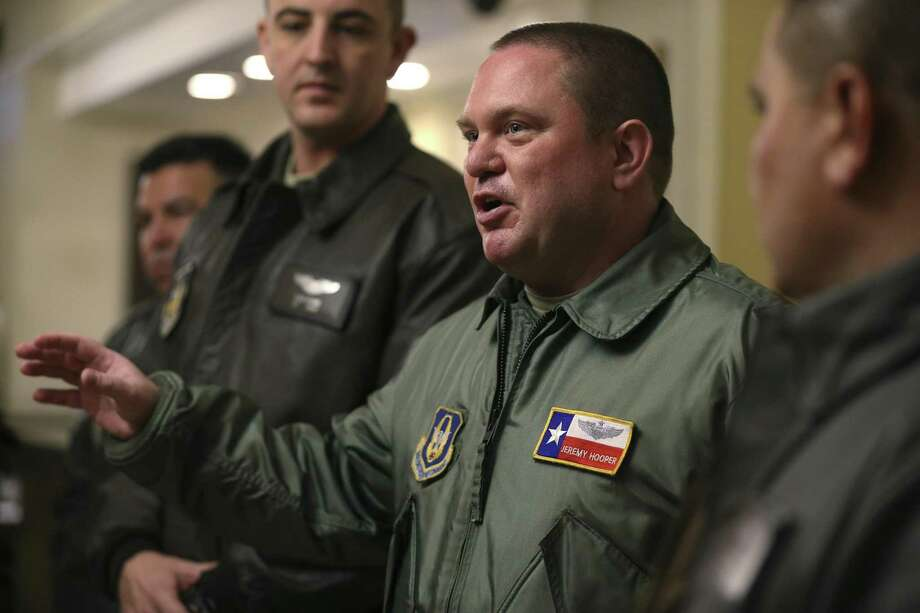 Air Force Reserve Maj. Jeremy Hooper makes a point during the morning briefing at a hotel lobby in Watertown, New York on Feb. 28, 2017. Hooper is with a C5-M Super Galaxy crew from the 433rd Airlift Wing, known as the Alamo Wing, out of Joint Base San Antonio-Lackland. They moved equipment, assault helicopters and troops to Riga, Latvia in five days of flying in support of Operation Atlantic Resolve. Photo: JERRY LARA /San Antonio Express-News / © 2017 San Antonio Express-News