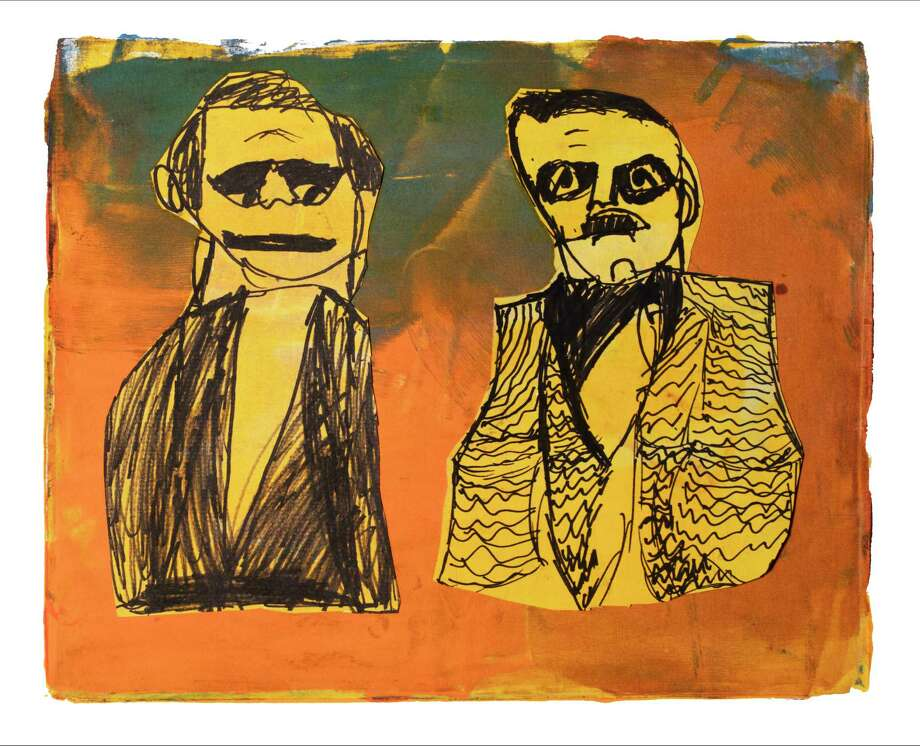 Portrait of the Allen Brothers (monoprint with markers) by Elias Blair, Wilson Montessori School Photo: Courtesy
