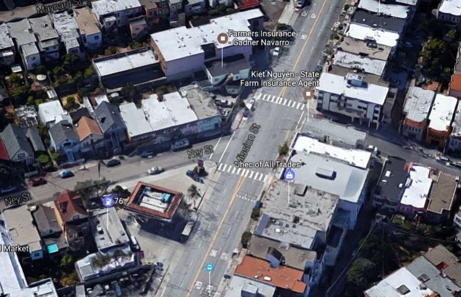 A Google image shows the crosswalk at Mission and Ney streets in San Francisco where a 50-year-old woman was stuck and killed last week. Photo: Google / /