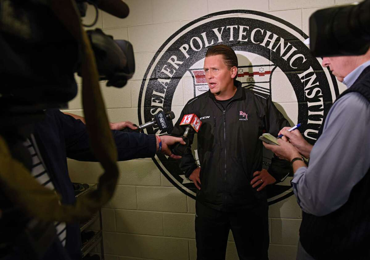 Head coach Seth Appert talks to the press during Rensselaer Polytechnic Institute's annual hockey media day at Houston Field House on Tuesday, Oct. 4, 2016 in Troy, N.Y. (Lori Van Buren / Times Union)