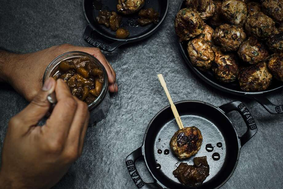Koftas with a spoonful of chutney. Photo: Nik Sharma