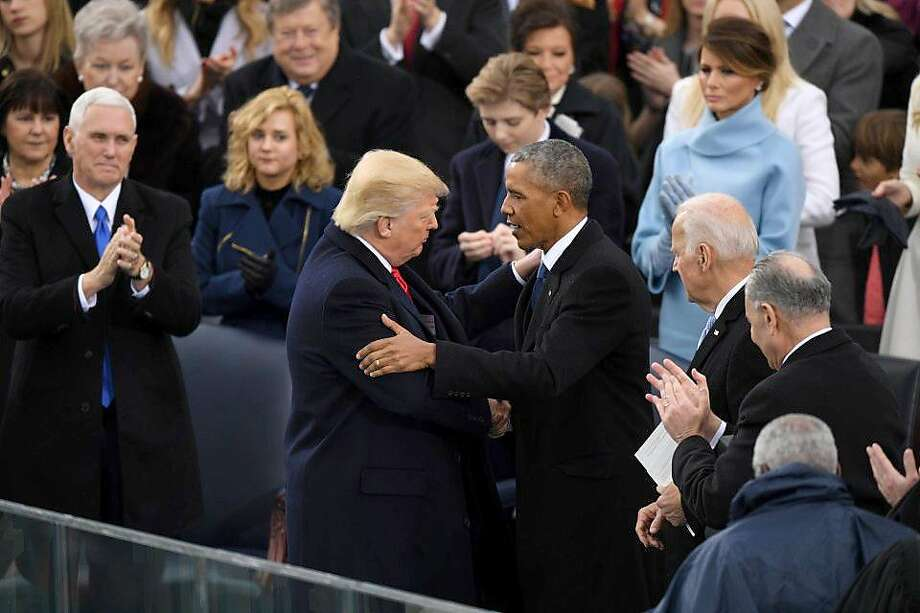 President Donald Trump shakes hands with former president Barack Obama at his inauguration on Jan. 20, 2017. MUST CREDIT: Washington Post photo by Jonathan Newton Photo: Jonathan Newton, The Washington Post