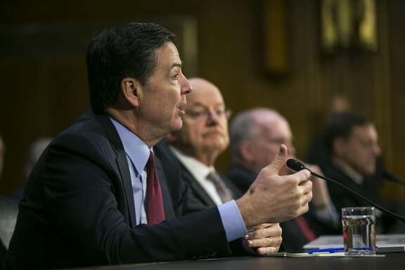 FILE � James Comey, director of the FBI, speaks during a Senate Intelligence Committee hearing in the Dirksen Senate Office Building, in Washington, Jan. 10, 2017. Comey asked the Justice Department to publicly reject President Donald Trump�s assertion that President Barack Obama ordered the tapping of Trump�s phones, a claim Comey says is false, officials said. (Al Drago/The New York Times)