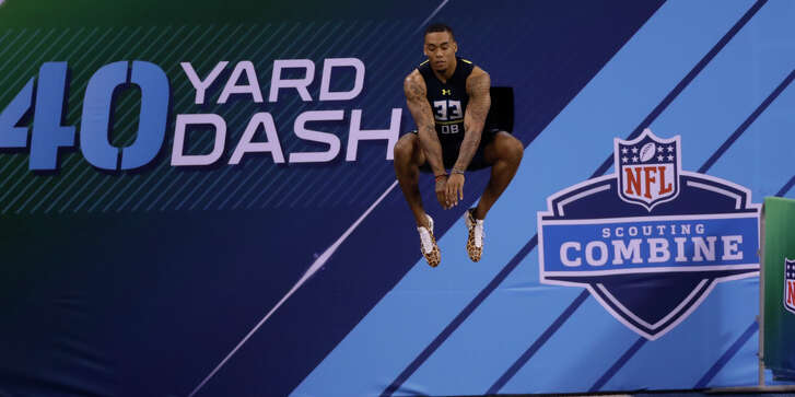 Lamar defensive back Brendan Langley runs the 40-yard dash at the NFL football scouting combine Monday, March 6, 2017, in Indianapolis. (AP Photo/David J. Phillip)