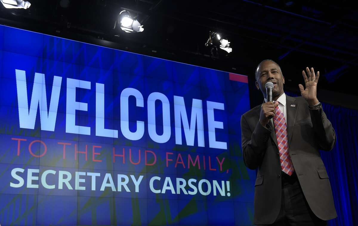 Housing a Urban Development Secretary Ben Carson speaks to HUD employees in Washington Monday. He referred to slaves as 'immigrants' during the address.