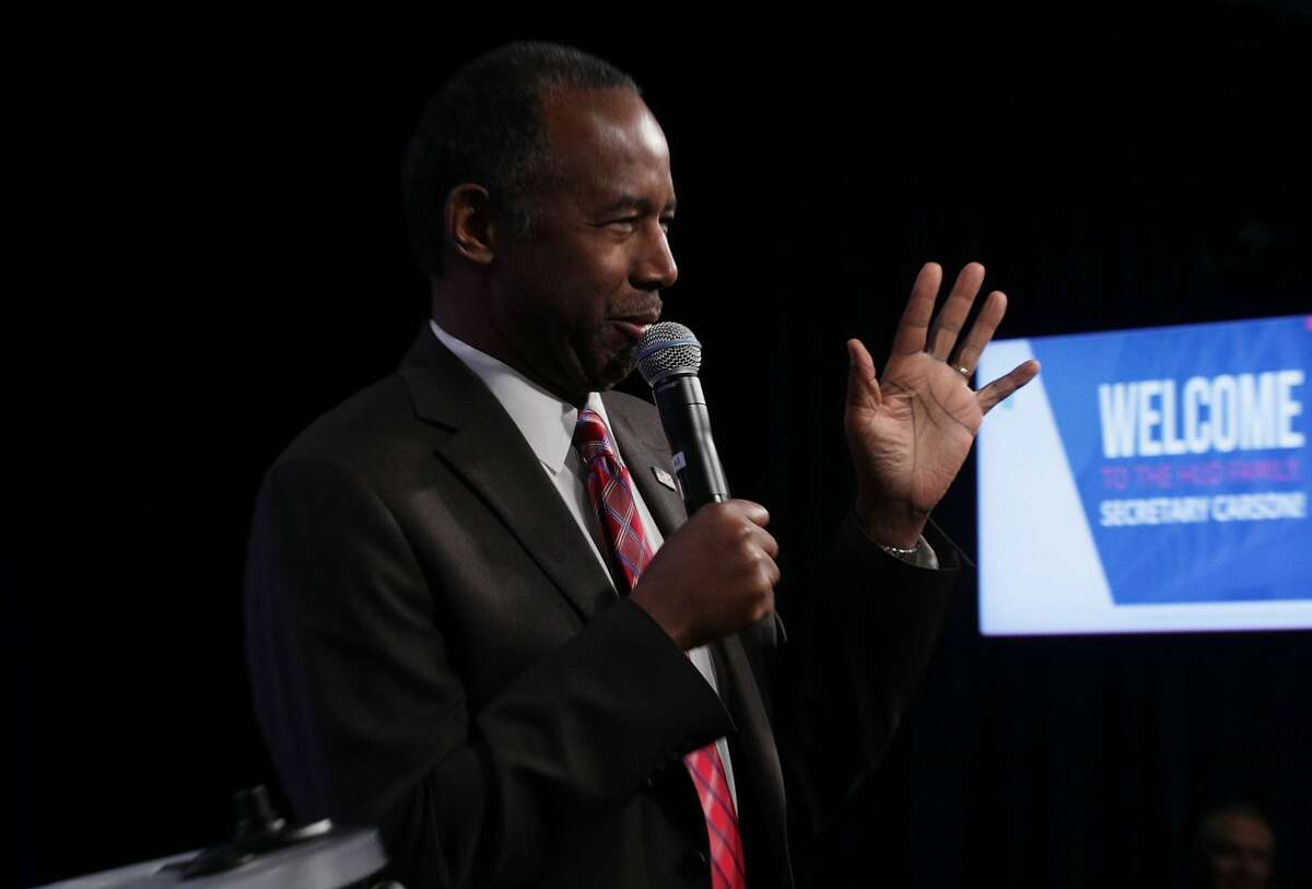 Housing and Urban Development (HUD) Secretary Ben Carson addresses his employees March 6, 2017 in Washington, DC. Secretary Carson addressed HUD employees the first time since he took office.