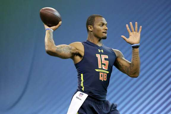 Clemson quarterback Deshaun Watson is seen in a drill at the 2017 NFL football scouting combine Saturday, March 4, 2017, in Indianapolis. (AP Photo/Gregory Payan)