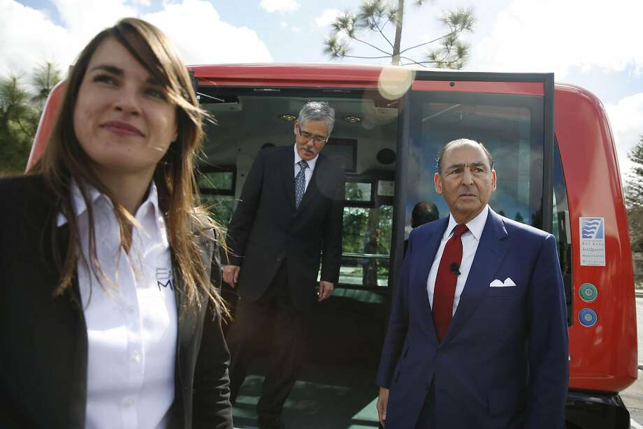 Marion Lheritier (left), a spokeswoman for EasyMile, Randell Iwasaki, Contra Costa Transportation Authority executive director, and Alexander Mehran Sr., CEO of Sunset Development Co. observed the shuttles' test. Photo: Lea Suzuki, The Chronicle