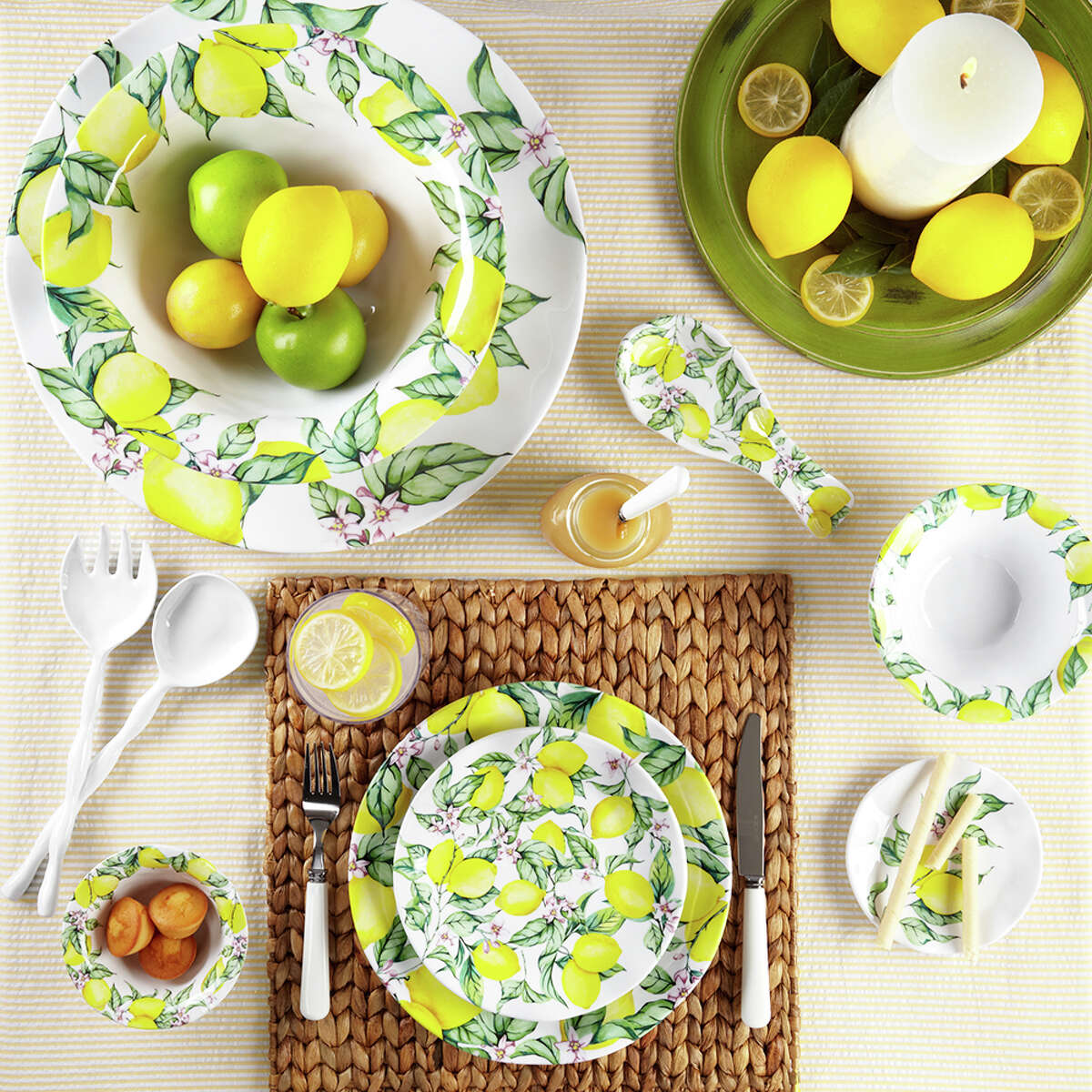 Q Squared NYC has four new melamine dinnerware collections, including this pattern, named Limonata.