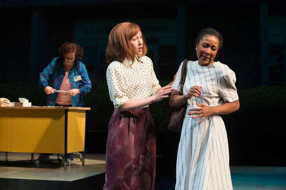 "Norma McCorvey (Sara Bruner, left), Ronda Mackey (Amy Newman) and ensemble character (Gina Daniels) in Lisa Loomer's ""Roe"" at Berkeley Rep. Photo: Jenny Graham, Berkeley Repertory Theatre"