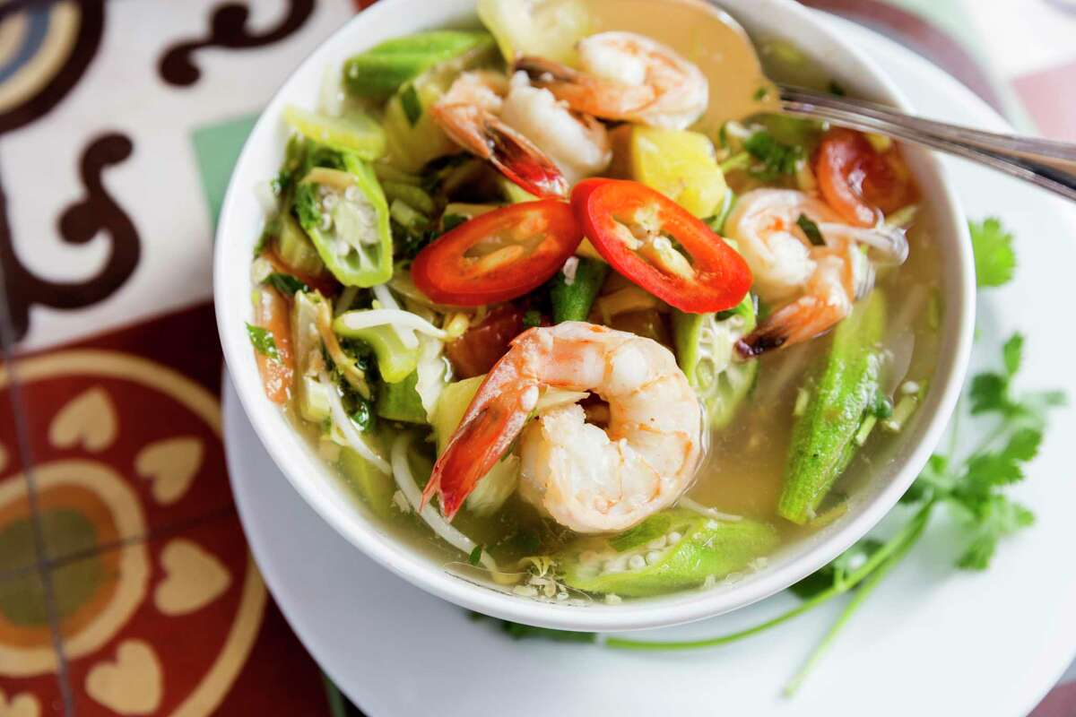 Canh Chua (tangy tamarind broth with shrimp and pineapple) at Le Colonial, a new restaurant at River Oaks District.
