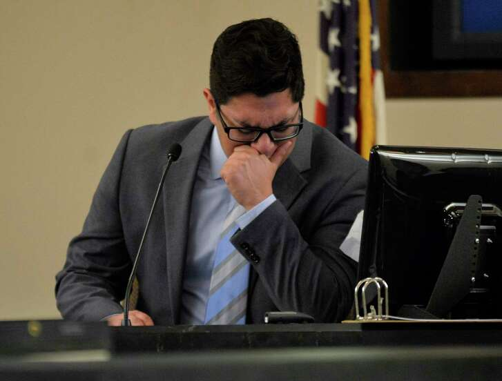 Alejandro Chapa cries on the stand during the sentencing phase of his trial, Monday, March 6, 2017, in the 187th District Court in San Antonio. Chapa was convicted on charges of sexual assault, compelling prostitution, and official oppression.