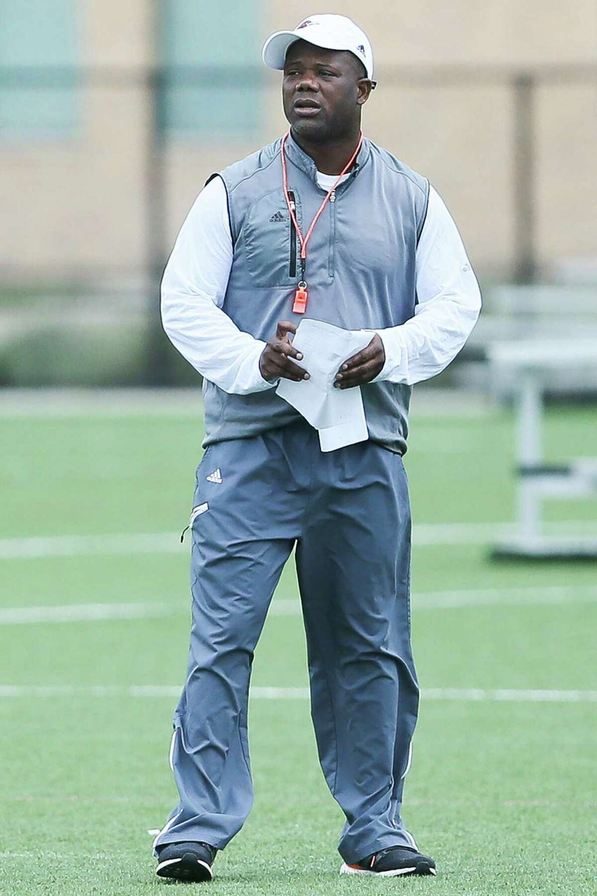 UTSA coach Frank Wilson watches the opening day of spring practice on March 6, 2017.