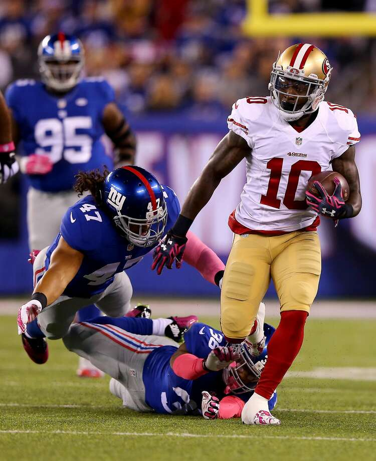 Bruce Ellington's 19 career catches rank second among 49ers' wide receivers under contract for 2017. Photo: Elsa, Getty Images