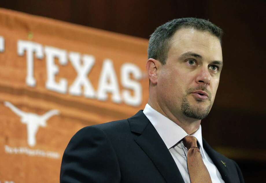 Tom Herman talks to the media during a news conference where he was introduced as new head coach at the University of Texas on Nov. 27, 2016. Considering all the hype about Herman, there will not be much of a grace period for him in Austin. Former coach Charlie Strong left behind a pretty good roster and told the world that the Longhorns would win 10 games in 2017 no matter who is coaching. Photo: Eric Gay /Associated Press / Copyright 2016 The Associated Press. All rights reserved.