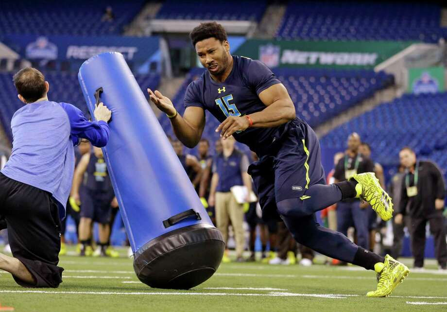 NFL COMBINE WINNERMyles Garrett, DE, Texas A&MThe Browns need a quarterback, but Garrett's combine performance will make it awfully tough for him not to be the No. 1 overall pick. Garrett put up Jadeveon Clowney-esque numbers, including a 41-inch vertical leap and 33 reps of 225 pounds on the bench press. Photo: Michael Conroy, Associated Press / Copyright 2017 The Associated Press. All rights reserved.