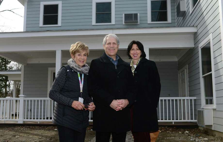 Fairfield County Hospice House board member Lynda Tucker, board co-chairman Rick Redniss, and Director of Development Colleen Harkey at the newly constructed FCHH facility in Stamford. FCHH is constructing a residential house designed for people on hospice to receive end of life care. The change in legislation paved the way for the construction of this six-bedroom, 10,000 square foot house located in a residential neighborhood in Stamford just off the Merritt Parkway providing easy access to the lower Fairfield County community. Photo: Erik Trautmann / Hearst Connecticut Media / Norwalk Hour
