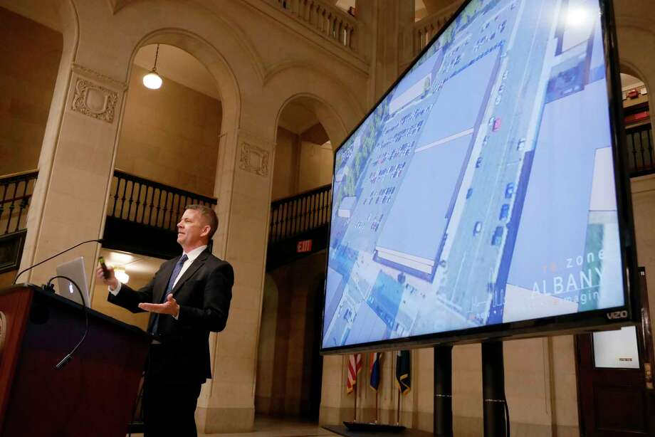 Chris Spencer, commissioner of planning for the City of Albany, talks about the public draft of the development ordinance, ReZone Albany, during a press conference at City Hall on Monday, March 6, 2017, in Albany, N.Y.    (Paul Buckowski / Times Union) Photo: PAUL BUCKOWSKI / 20039872A