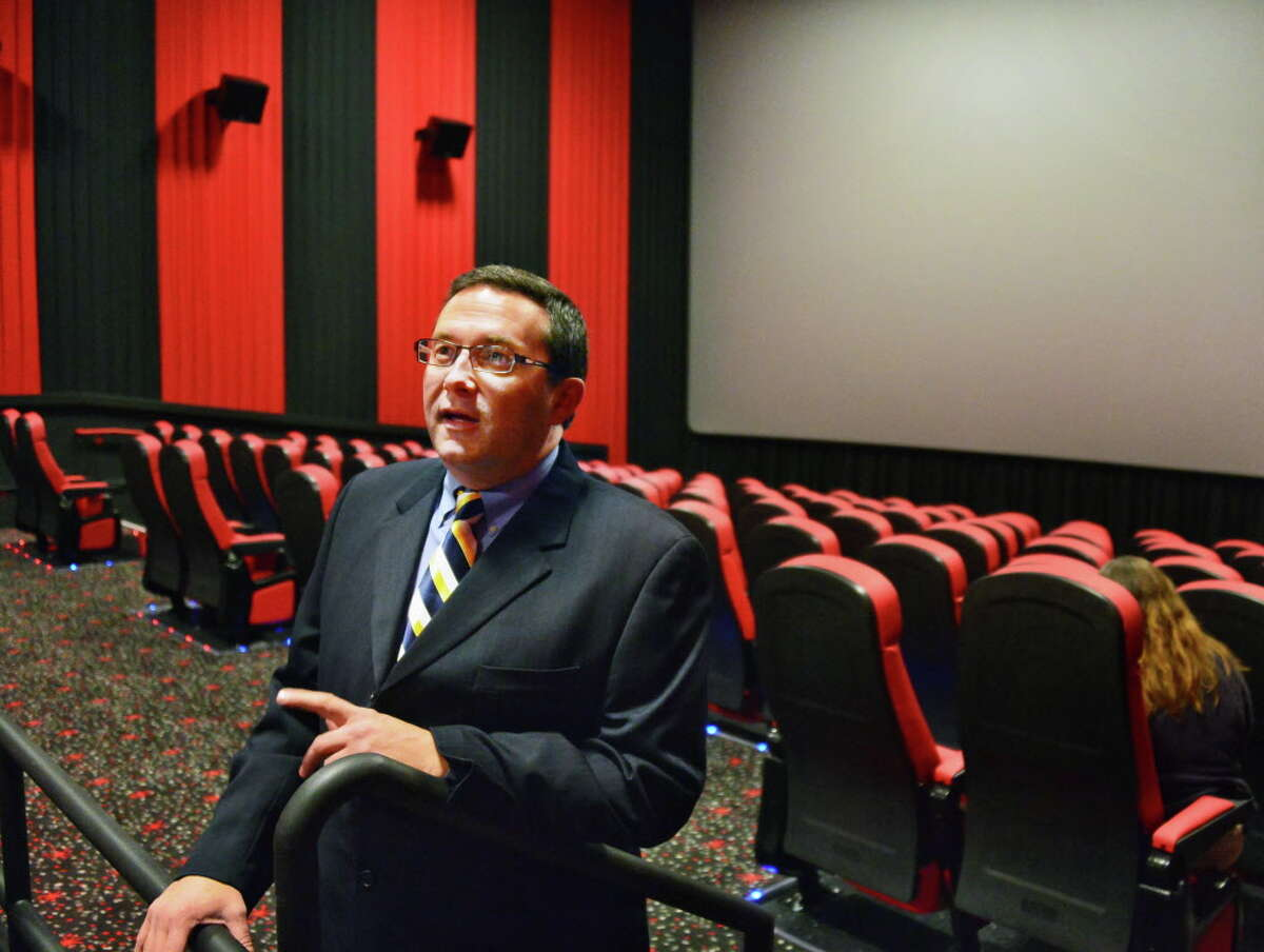 Bow Tie COO Joe Masher inside the BTX theater at the new Bow Tie Cinemas at Wilton Mall Thursday Oct. 24, 2013, in Saratoga Springs, NY. (John Carl D'Annibale / Times Union)