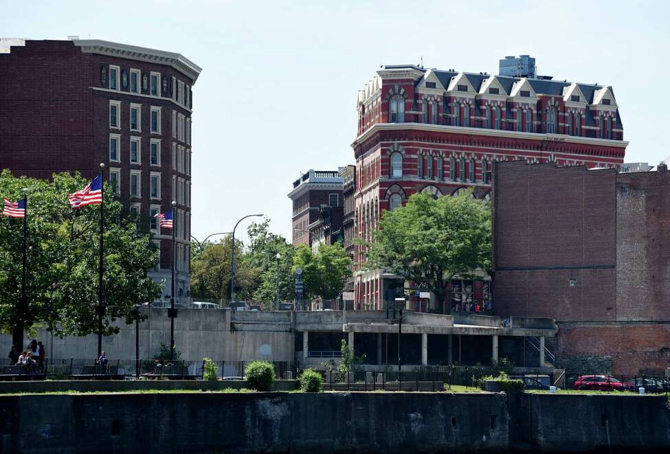 Troy?'s Monument Square with Rice Building, right, and former city hall site are viewed from the Hudson River on Friday, Aug. 5, 2016, in Troy, N.Y. (Will Waldron/Times Union)