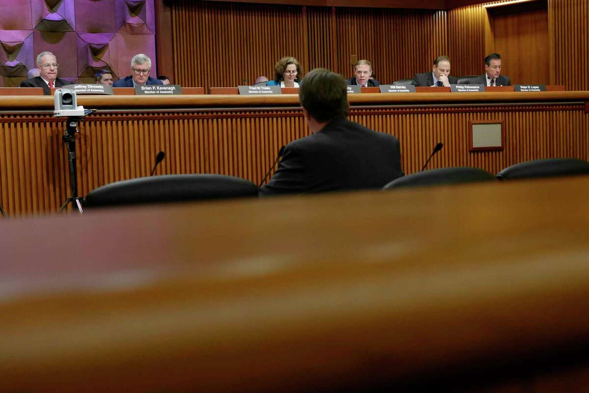 Legislators ask questions as Blair Horner, executive director of NYPIRG, testifies at a Assembly Standing Committees on Corporations, Authorities and Commissions hearing on Monday, March 6, 2017, in Albany, N.Y. (Paul Buckowski / Times Union)