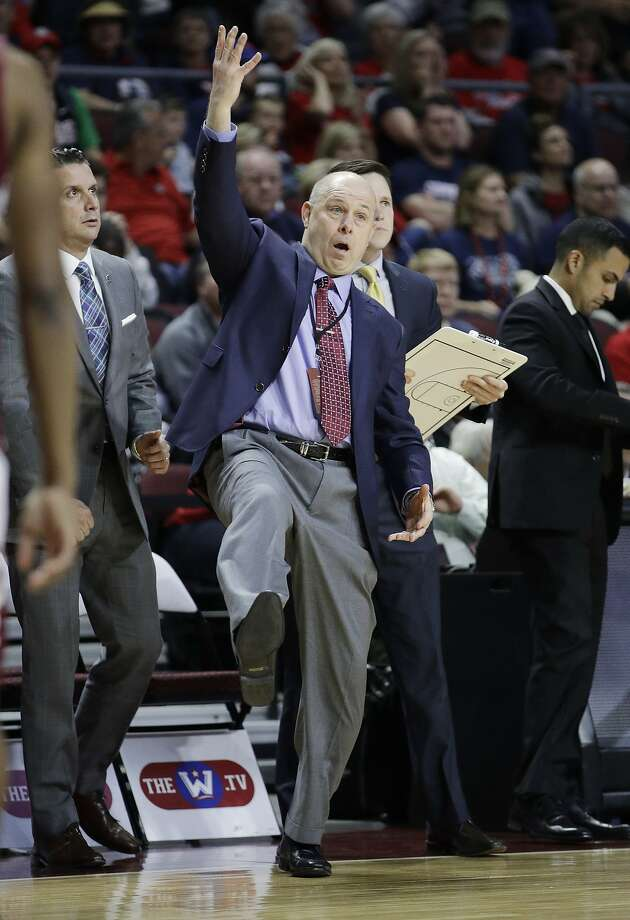 Santa Clara head coach Herb Sendek reacts after a play against Gonzaga during the first half of a West Coast Conference tournament NCAA college basketball game Monday, March 6, 2017, in Las Vegas. (AP Photo/John Locher) Photo: John Locher, Associated Press