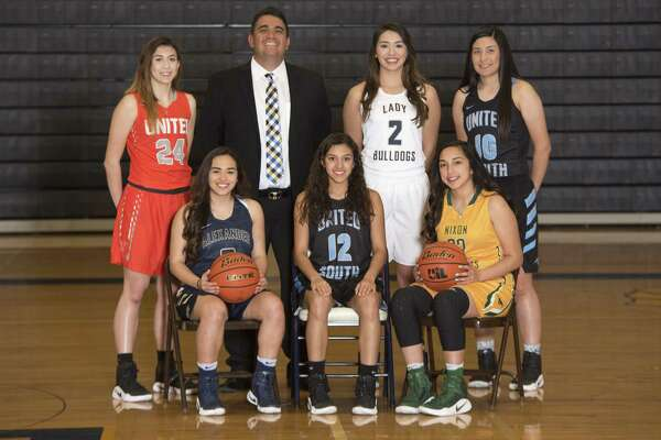 The LMT All-City main awards winners are, from top left, United's Audrey Batey (Newcomer), Alexander's Gilberto Cardenas (Coach), Alexander's Dannia González (MVP) and United South's Mayra Perez (Sixth Man), and from bottom left are Alexander's Valerie López (co-Defensive Player), United South's Karla Serna (co-Defensive Player) and Nixon's Kassy Lazcano (Offensive Player).