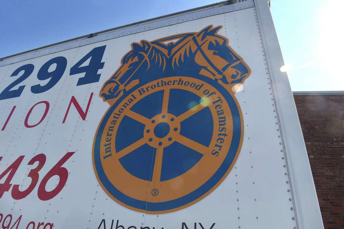 A trailer carries the logo for Teamsters Local 294 on Monday, March, 6, 2017, outside the Labor Temple in Albany, N.Y. They are facing a proposed 31% cut to their pension plan. (Will Waldron/Times Union)