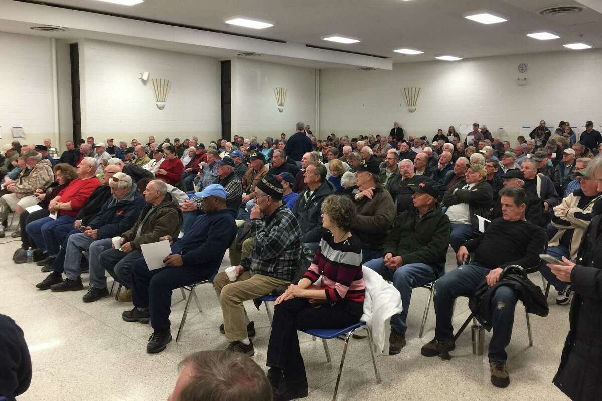 Members of Teamsters Local 294 retirees meet to talk about a proposed 31% cut to their pension plan on Monday, March, 6, 2017, at the Labor Temple in Albany, N.Y. (Rick Karlin/Times Union)